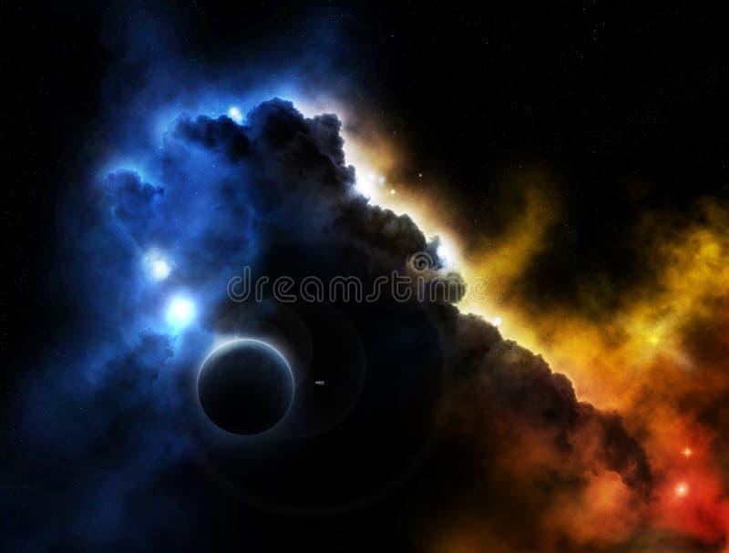 Fantasieplatznebelfleck mit Planeten lizenzfreie abbildung