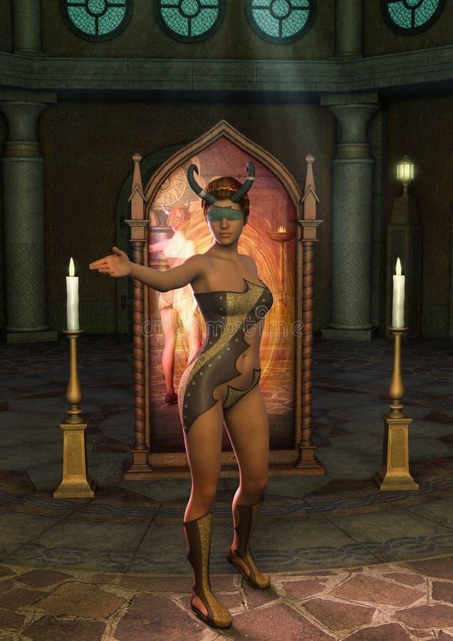 Fantasiepriestess blinddoek met hoornen met een magische spiegel achter haar royalty-vrije illustratie