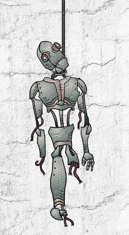 Fantasierijke gehangen robot stock illustratie