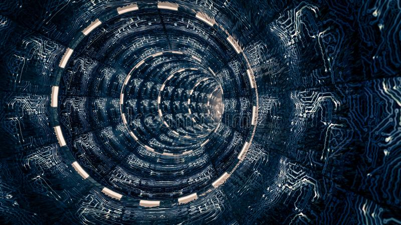 Fantasiescène van kunstmatige ruimtetunnel Science fictionthema, vector illustratie