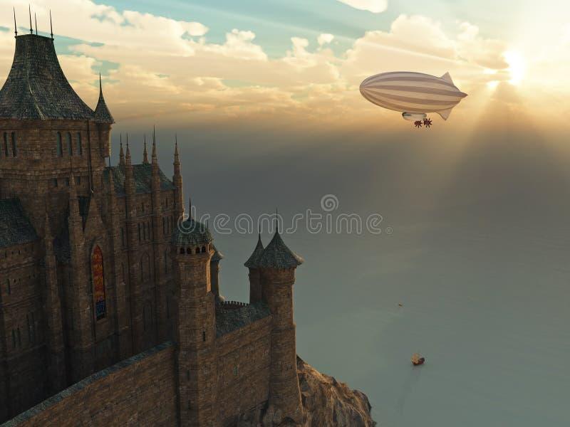 Fantasieschloß und Flugwesen-Zeppelin am Sonnenuntergang vektor abbildung
