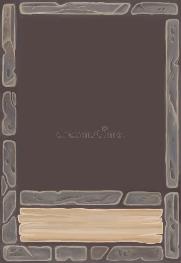 Fantasiespeelkaart temlate voor spel met interfaceelementen Het ornament van de steenkaart vector illustratie