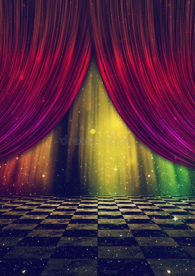 Fantasietapp med gardiner arkivbild