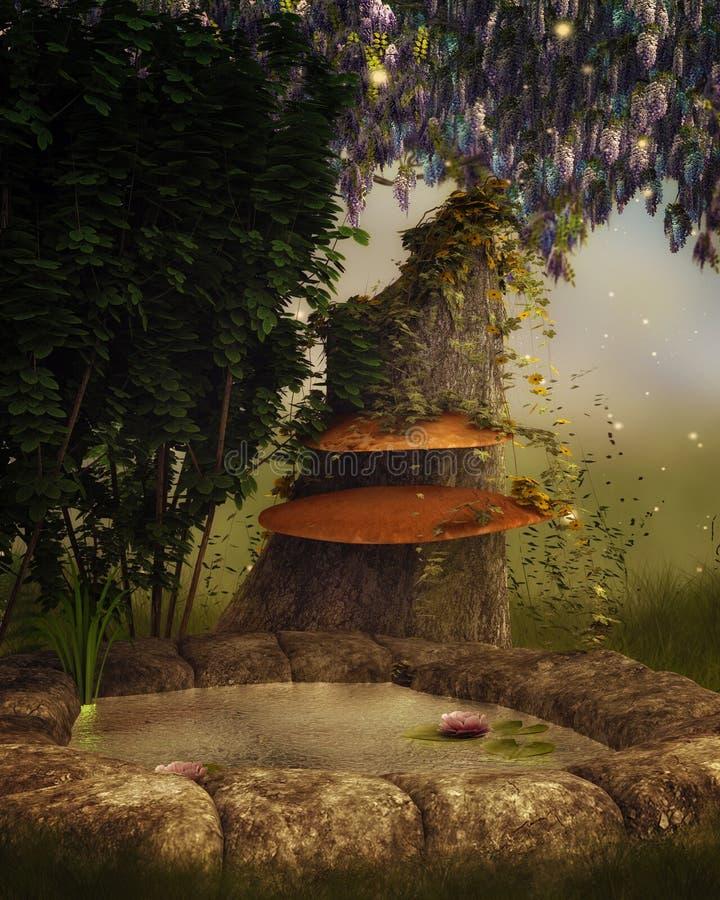 Fantasietuin met paddestoelboom vector illustratie