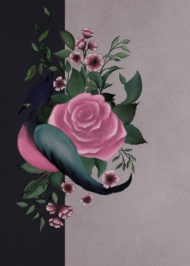 Fantasievogel nahe der Rose lizenzfreie stockbilder