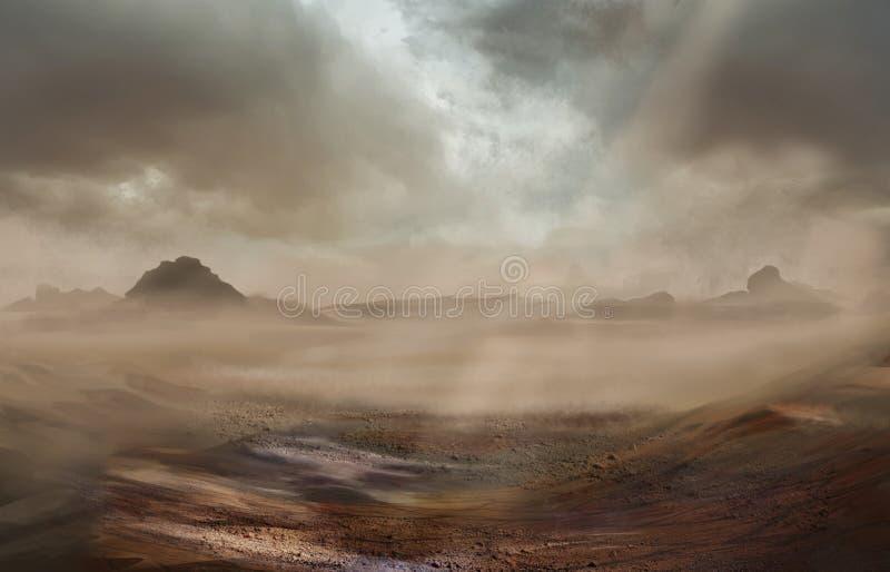 Fantasiewüstenlandschaft mit sandigem Sturm stock abbildung