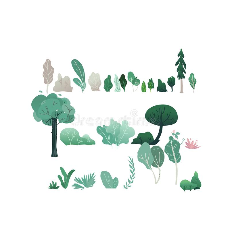 Fantasiewaldvektorillustration eingestellt mit verschiedenen Bäumen und Sträuchen mit grünem und grauem Laub stock abbildung