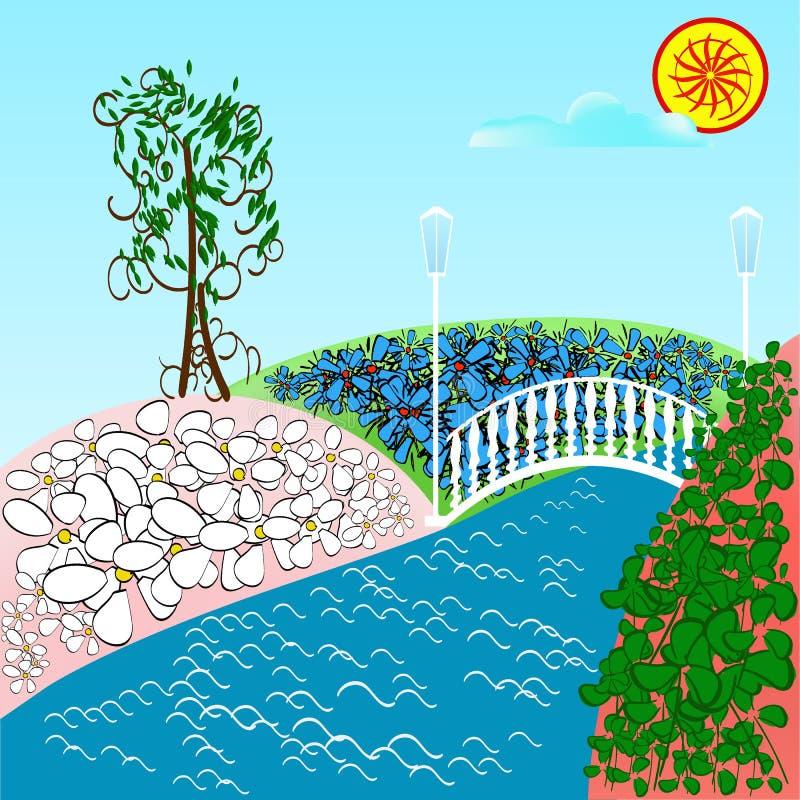 Fantasieweide met madeliefjes, bloemen en groene boom Rivier en B royalty-vrije illustratie