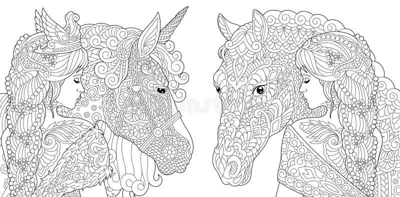 Fantasifärgläggningsidor royaltyfri illustrationer