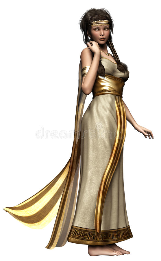 Fantasiflicka i en grekisk klänning vektor illustrationer