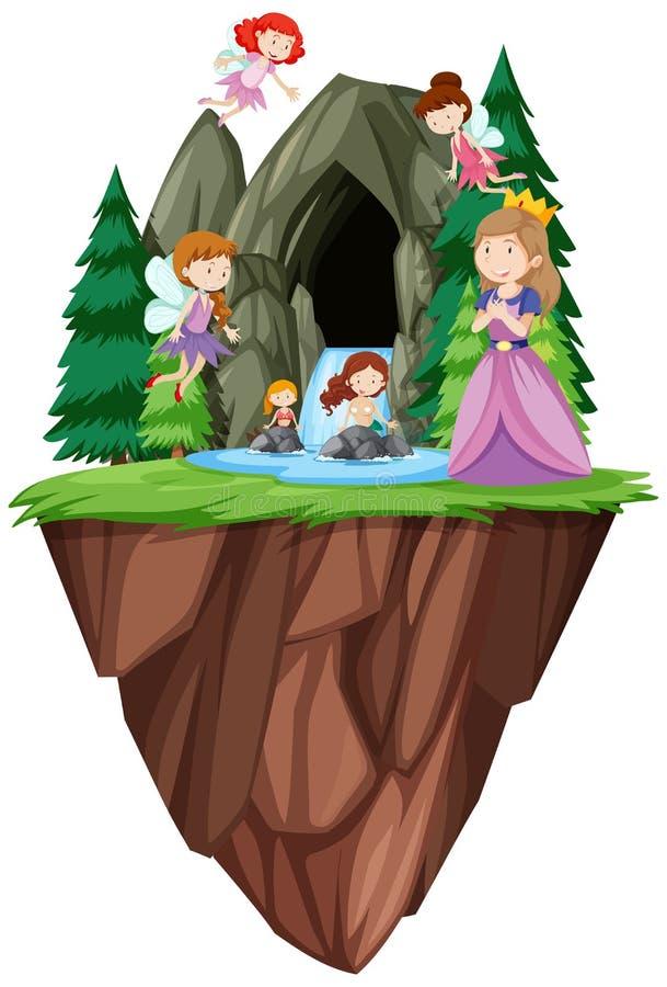 Fantasifolk framme av grottan royaltyfri illustrationer