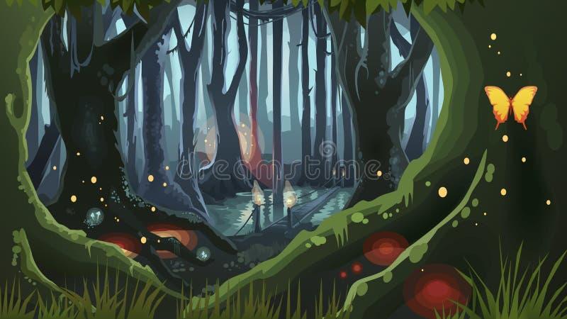 FantasiForest Illustration Dark Night Magic träd royaltyfri illustrationer