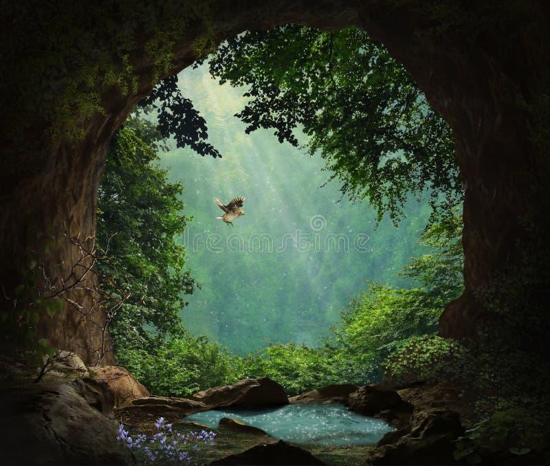 Fantasigrotta i bergen royaltyfri illustrationer