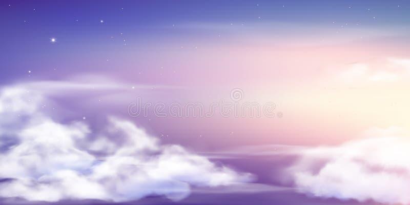 Fantasihimmel Härliga felika himlar, fantastiska dröm- moln och sagolik bakgrund för vektor för pastellfärgade färger för molnig  stock illustrationer