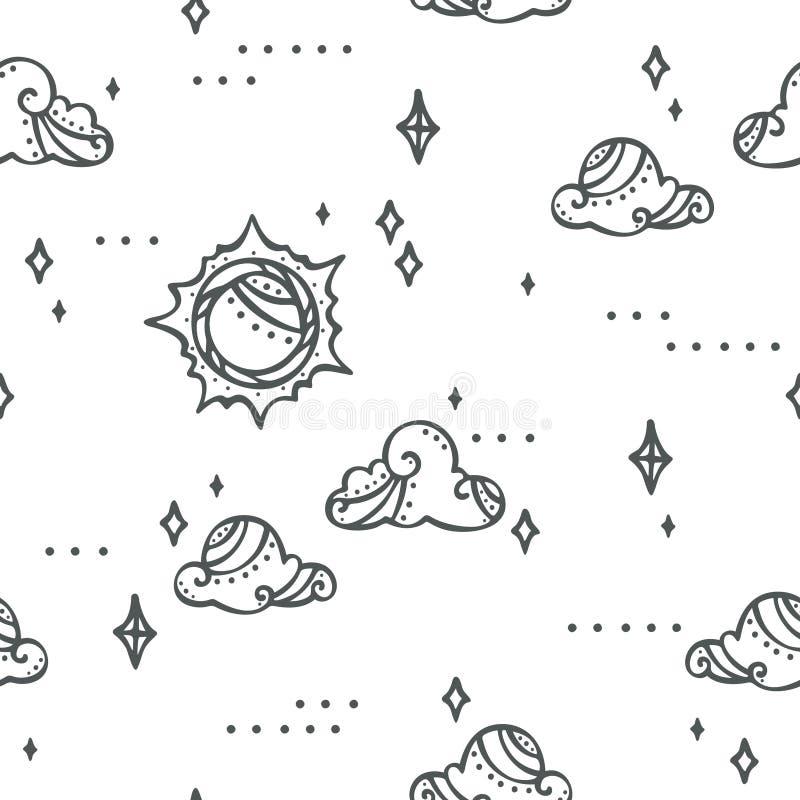Fantasihimmelsolen fördunklar och gulliga stjärnor - och den moderna modellen stock illustrationer