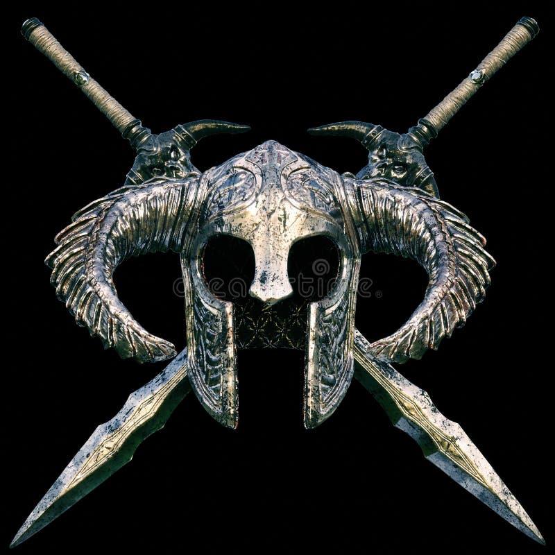 Fantasihjälmen med arga svärd planlägger på en svart bakgrund royaltyfri illustrationer