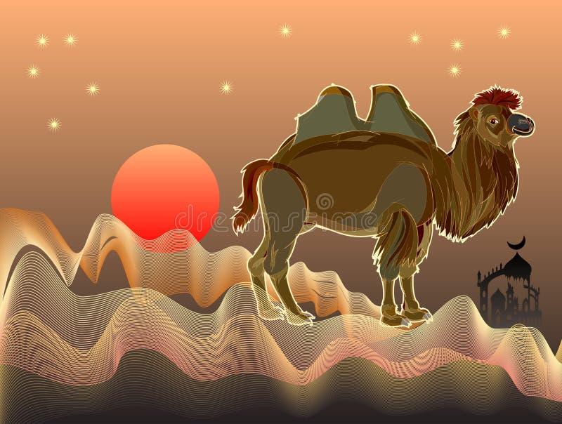 Fantasiillustration av den gulliga Bactrian kamlet i öken med sandvågor Räkning för sagabok vektor illustrationer