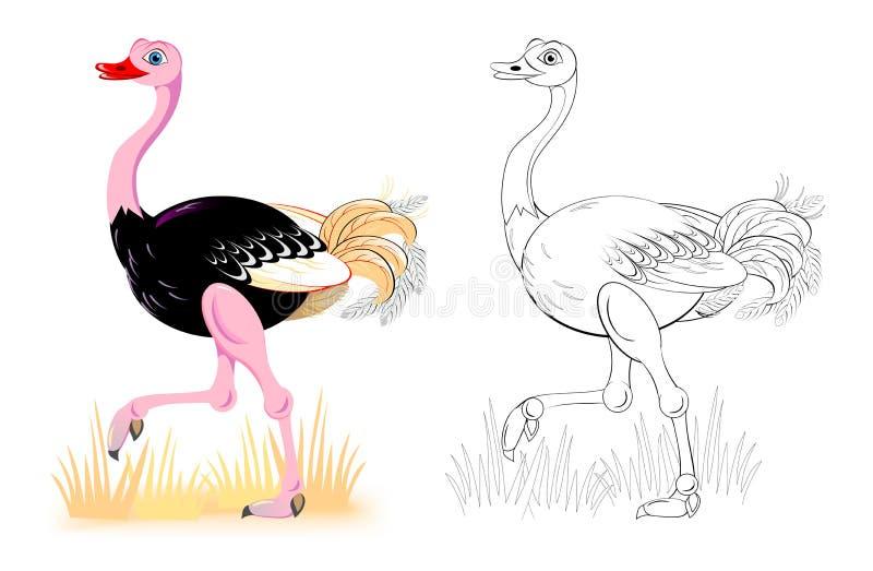 Fantasiillustration av den gulliga strutsen Färgrik och svartvit sida för färgläggningbok Arbetssedel för barn och vuxna människo royaltyfri illustrationer