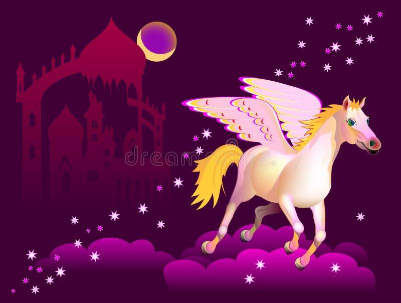 Fantasiillustration av det Pegasus flyget ovanför molnen i natthimmel Räkning för sagabok stock illustrationer
