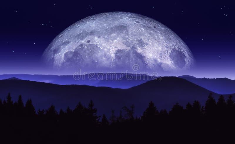 Fantasiillustration av månen eller planeten som stiger över bergskedja på natten Sciencelandskap Original- konstverk med blandat royaltyfri illustrationer
