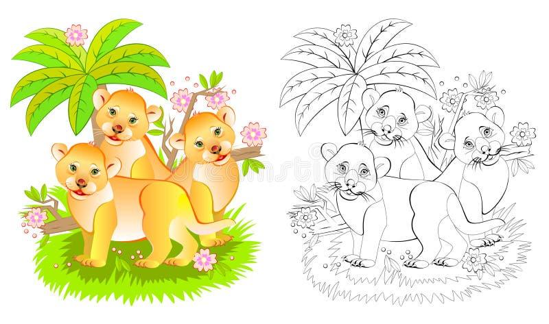 Fantasiillustration av tre gulliga lilla lejon i djungeln Färgrik och svartvit sida för färgläggningbok Tryckbart arbete vektor illustrationer