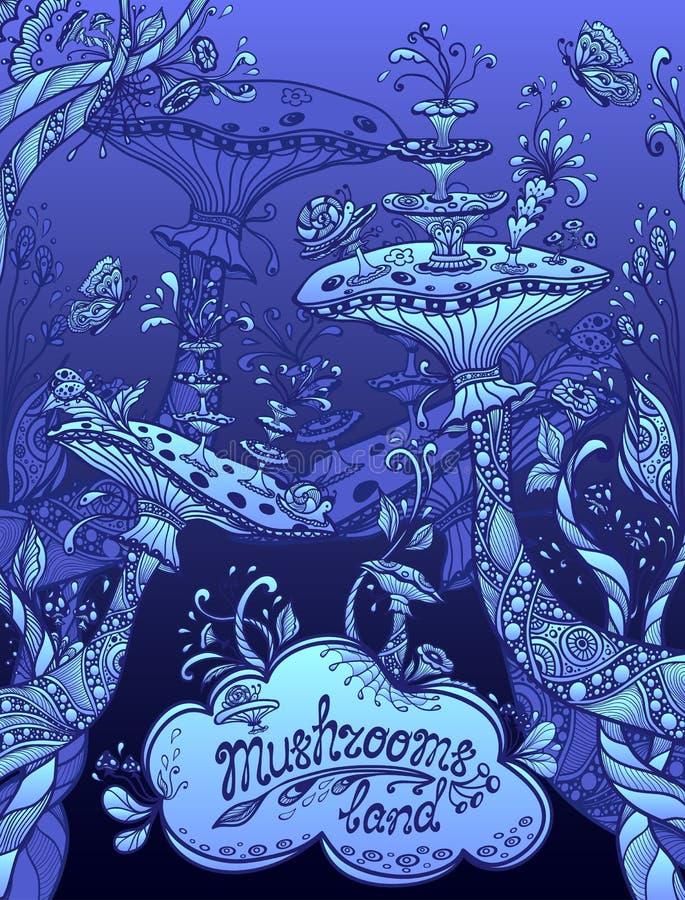 Fantasiillustrationchampinjoner landar i natt för blått för Zenklotterstil stock illustrationer