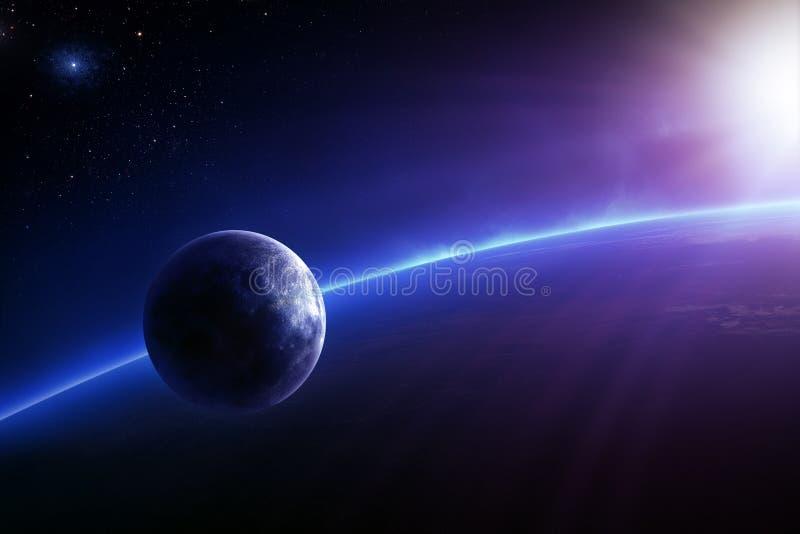 Fantasijord och måne med färgglad soluppgång stock illustrationer