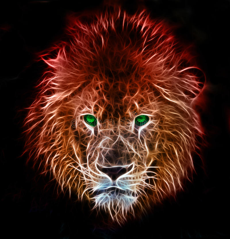 Fantasikonst av ett lejon royaltyfri illustrationer