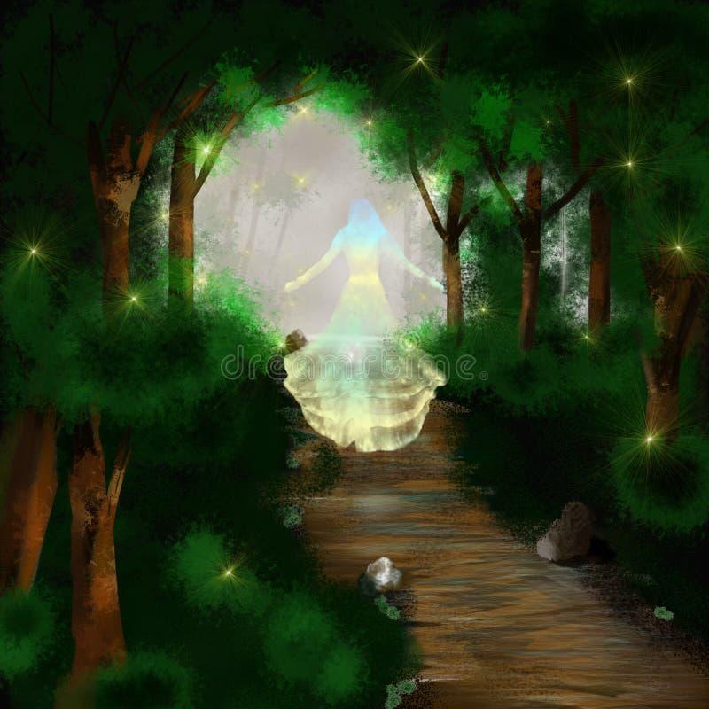 Fantasikvinna i skog royaltyfri illustrationer