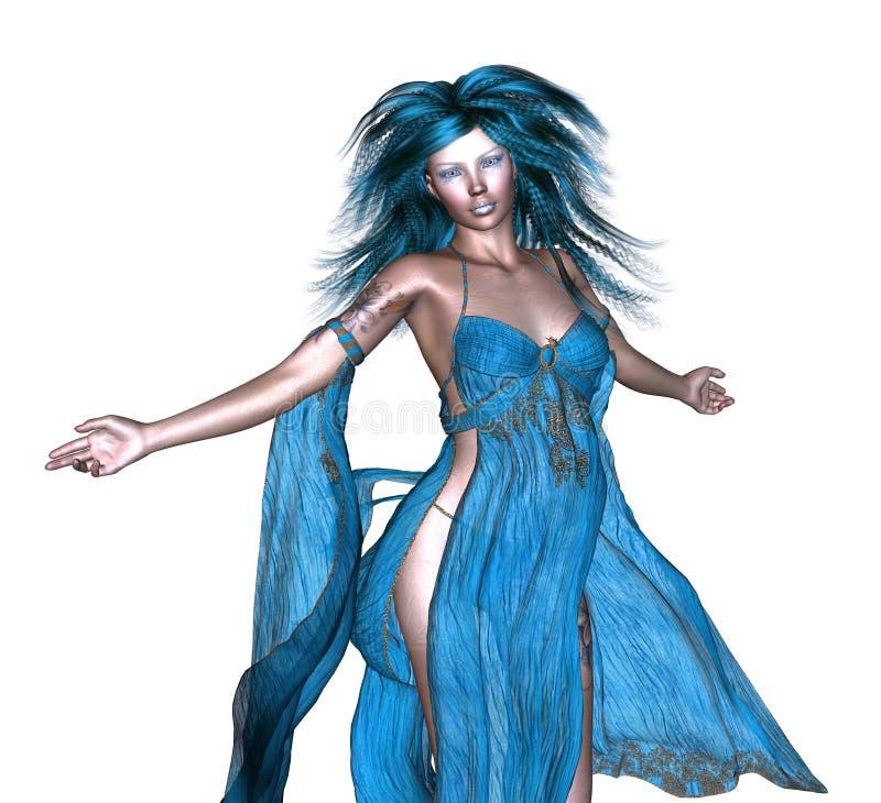 Fantasikvinna med blått hår vektor illustrationer
