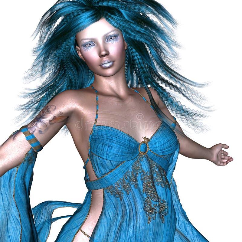 Fantasikvinna med blått hår royaltyfri illustrationer