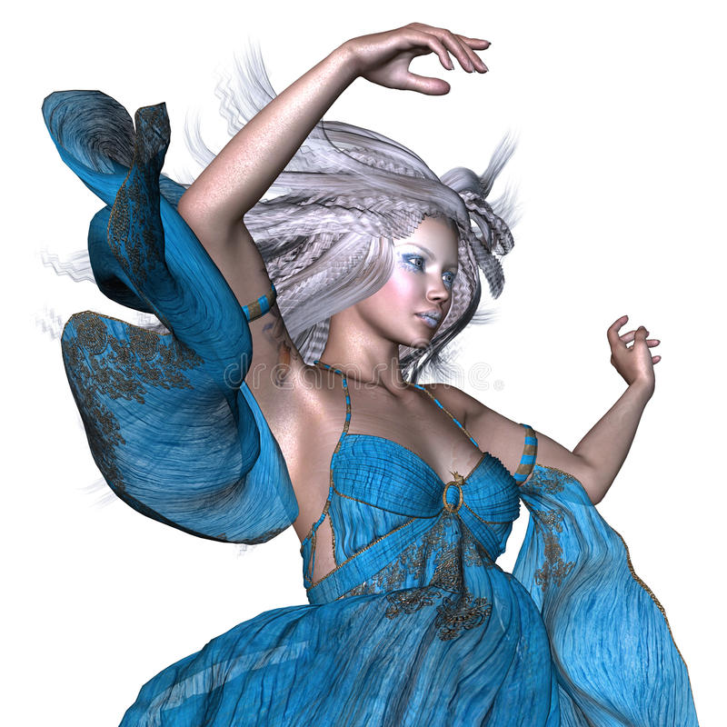 Fantasikvinna med vitt hår royaltyfri illustrationer