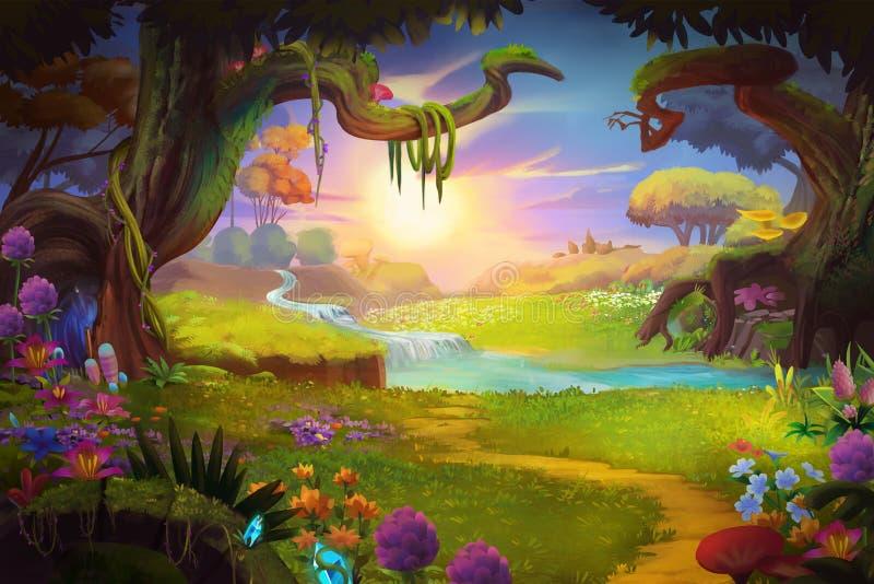 Fantasiland, gräs och kulle, flod och träd med fantastisk realistisk stil royaltyfri illustrationer