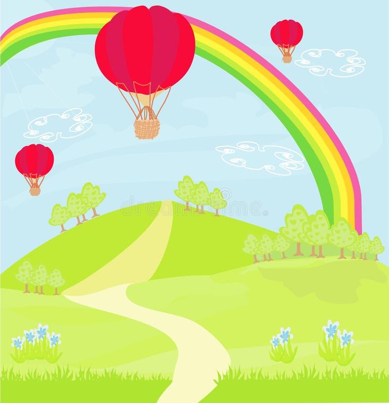 Fantasilandskap med ballonger för röd varm luft royaltyfri illustrationer