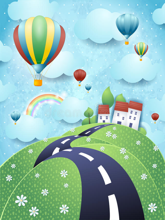 Fantasilandskap med ballonger för väg och för varm luft stock illustrationer