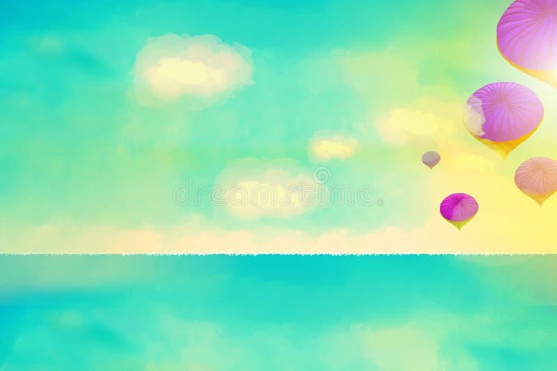Fantasilandskap med ballonger för varm luft vektor illustrationer