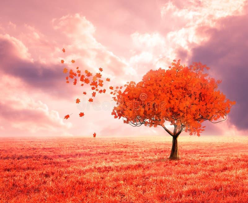 Fantasilandskap med det röda höstträdet royaltyfri fotografi
