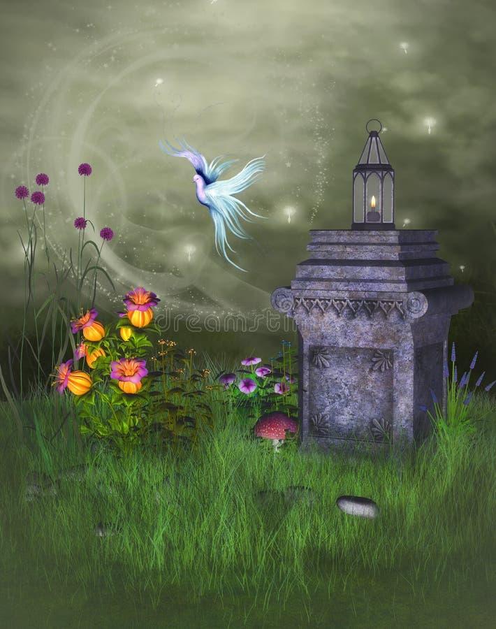 Fantasilandskap med fågeln royaltyfri illustrationer