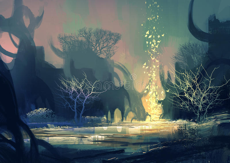 Fantasilandskap med mystiska träd royaltyfri illustrationer