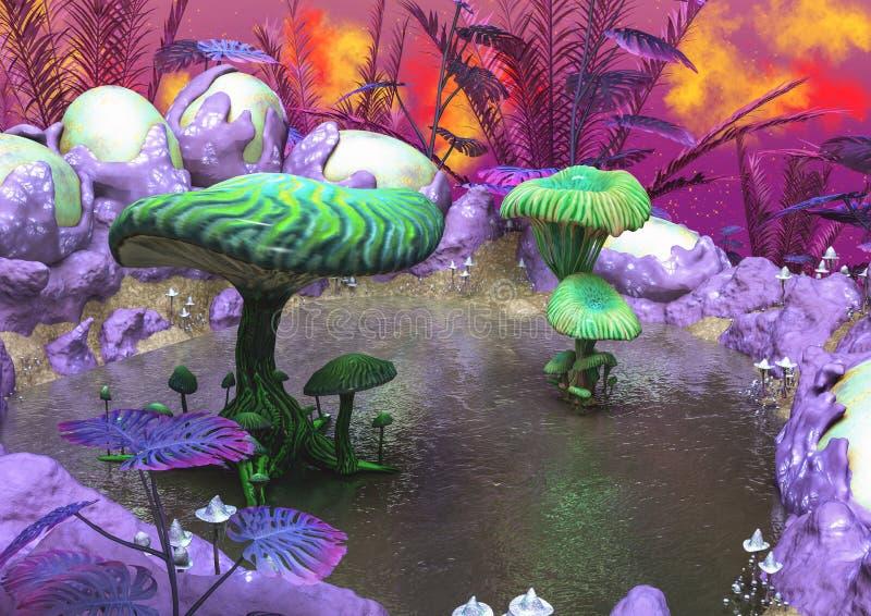 Fantasilandskap med sjön och champinjoner stock illustrationer
