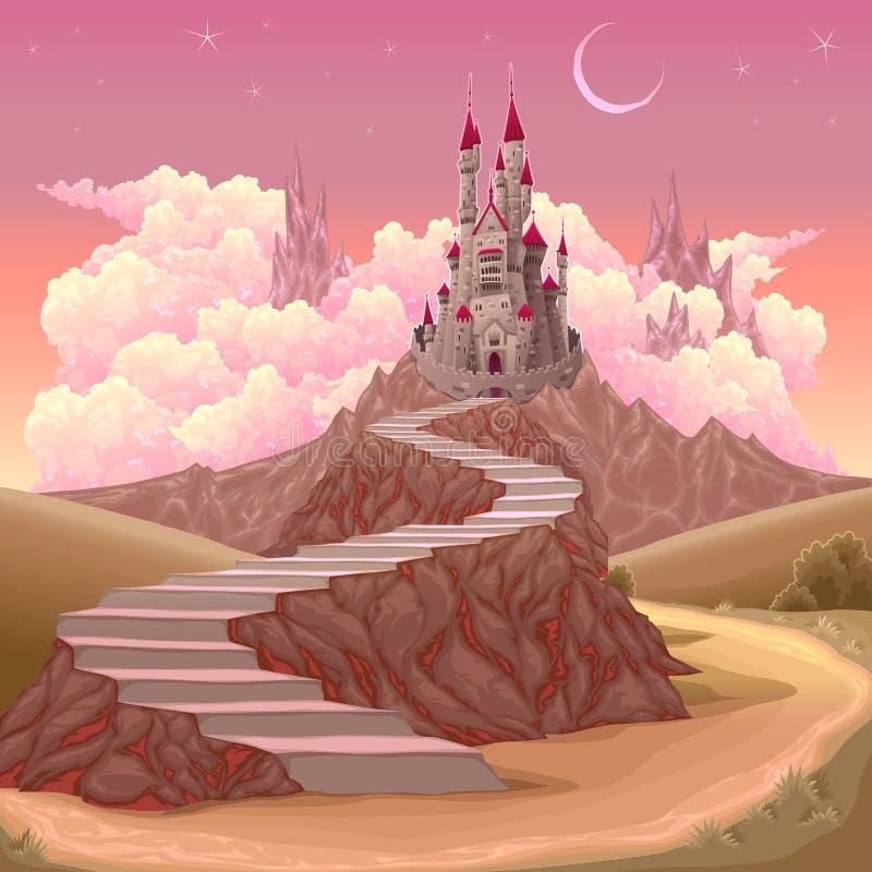Fantasilandskap med slotten vektor illustrationer