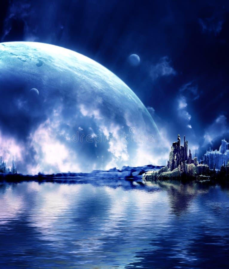 fantasiliggandeplanet royaltyfri illustrationer