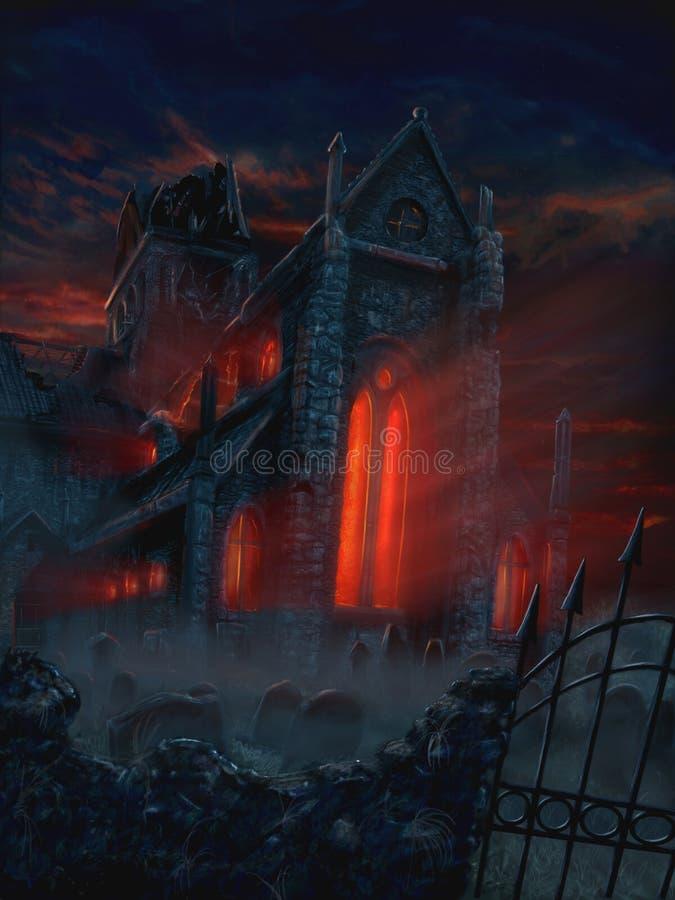 Fantasimålning av att skrämma den mystiska kyrkan och kyrkogården stock illustrationer