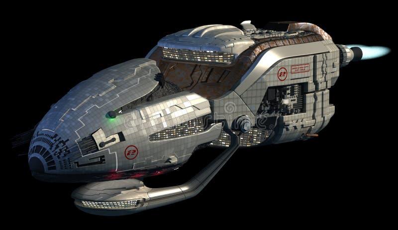 Den Futuristic spaceshipen 3D i djupt utrymme reser stock illustrationer