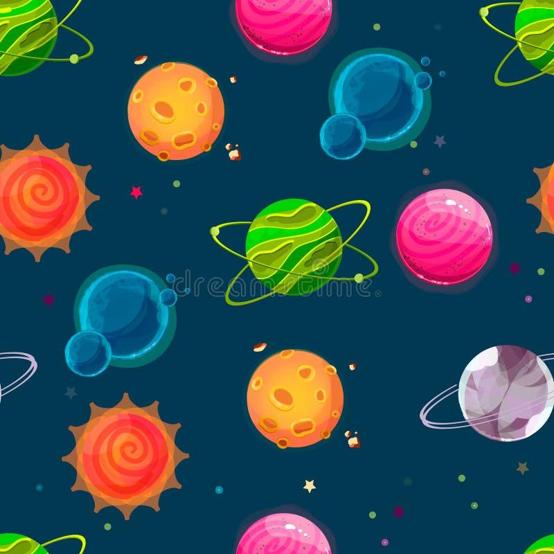 Fantasiplanetmodell stock illustrationer