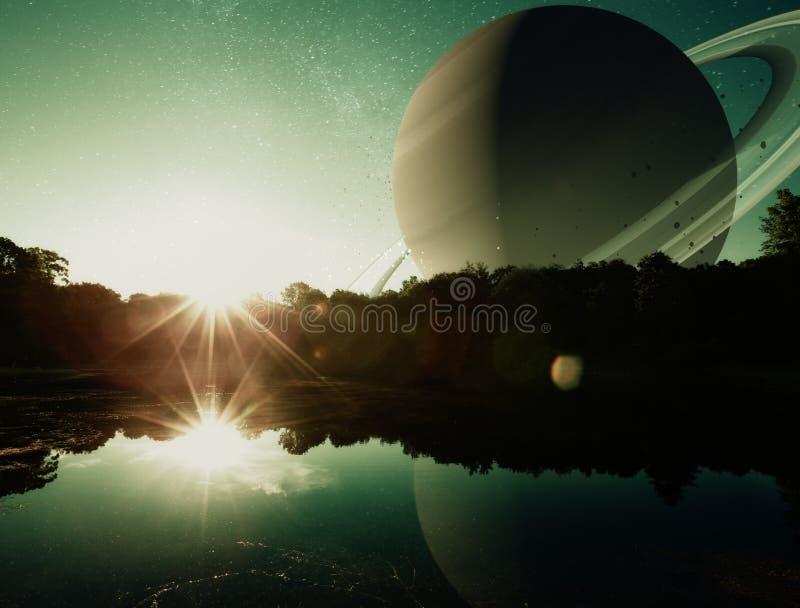 Fantasiplanetsoluppgång fotografering för bildbyråer