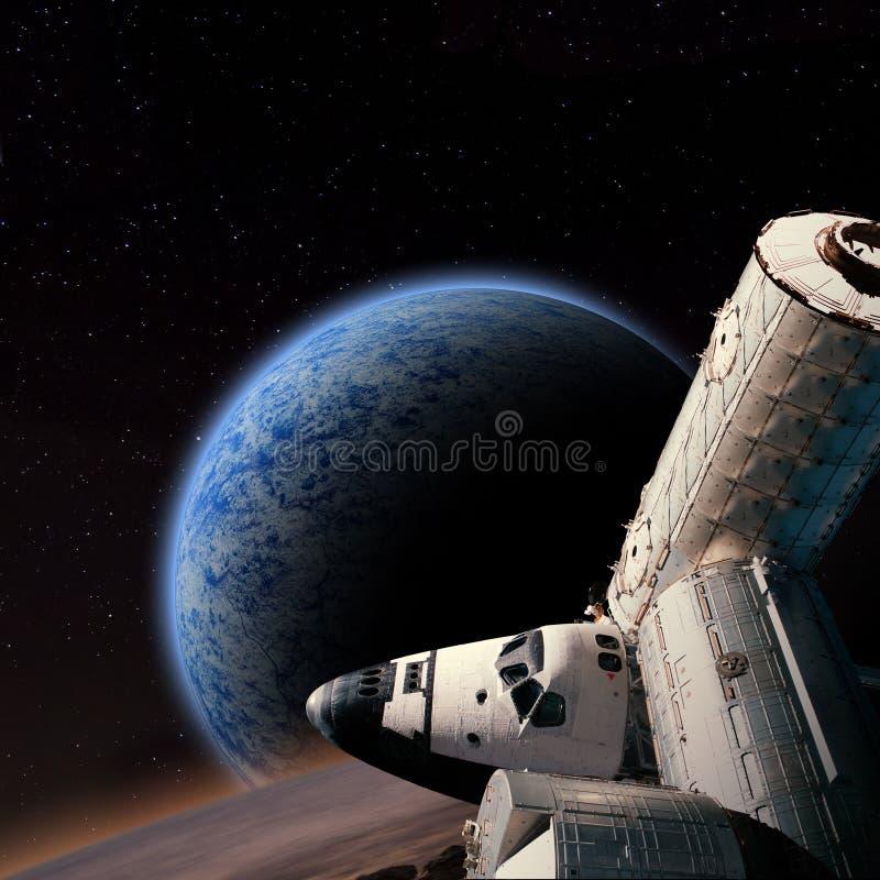 Fantasiplats av anslutningsrymdstationen nära den främmande planeten stock illustrationer