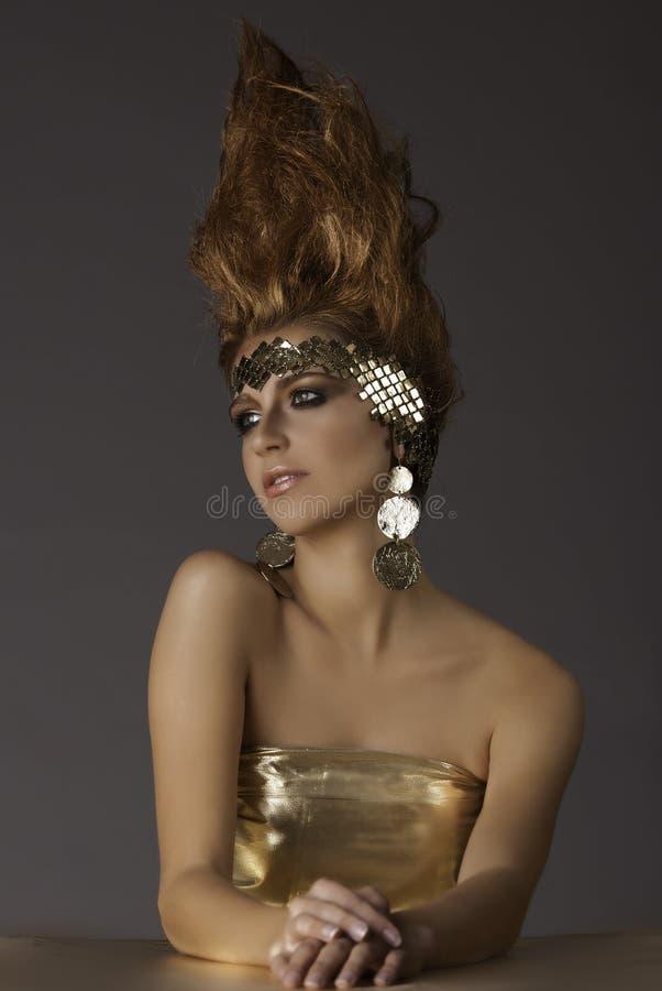 Fantasiprinsessa med flamman som hår royaltyfri bild