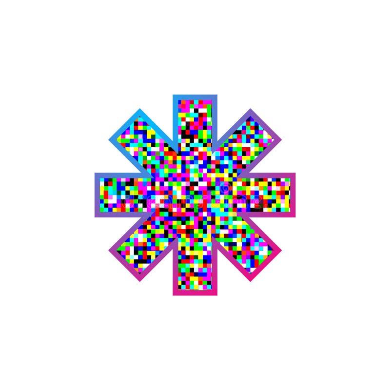 Fantasirikt färgrikt stjärnasymbol royaltyfri illustrationer