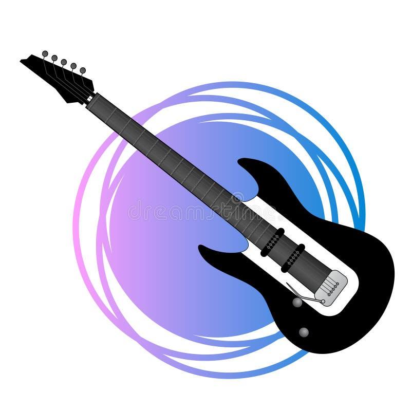 Fantasirikt vagga gitarrillustrationen stock illustrationer